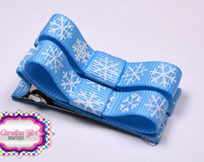 Blue Snowflakes Hair Clips Basic Tuxedo Clips Alligator Non Slip Barrettes for Babies Toddler Girl Set of 2