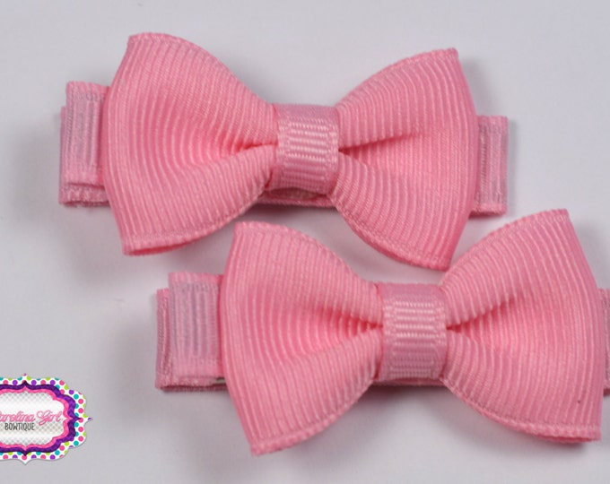 Pink Hair Bow Set of 2 Small Hairbows - Girls Hair Bows - Clippies - Baby Hair Bows