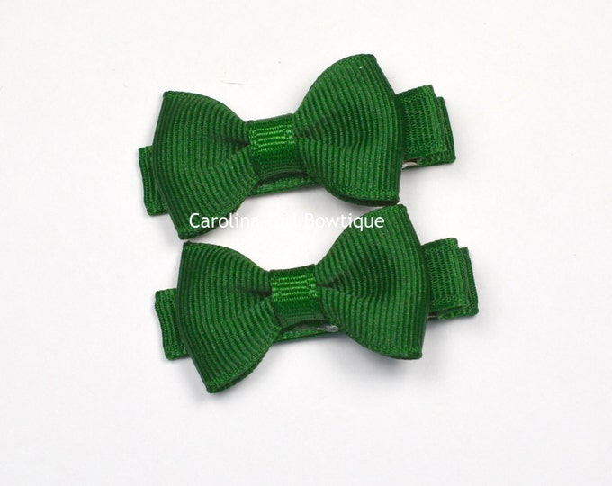 Mini Hair Bows ~ Forest Green Bows Set of 2 Small Hairbows - Girls Hair Bows - Clippies - Baby Hair Bows ~ No Slip Grip always added