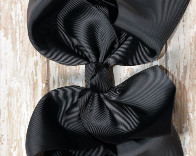 6 in. Black Boutique  Hair Bow - XL Hair Bow - Big Hair Bows - Girl Hair Bows