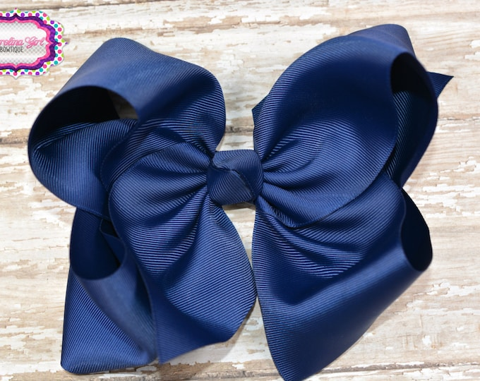 6 in. Navy Boutique  Hair Bow - XL Hair Bow - Big Hair Bows - Girl Hair Bows