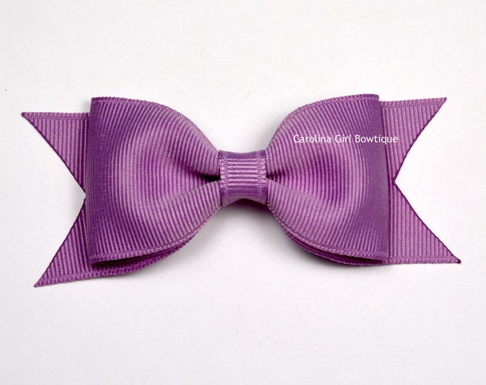 "Chalk Violet Tuxedo Bow ~ 3.5"" Hairbow ~ Small Hair Bow ~ Girls Barrette ~ Toddler Bow ~ Baby Hair Bow ~ Hair Clip ~ Girls Hair Bow"