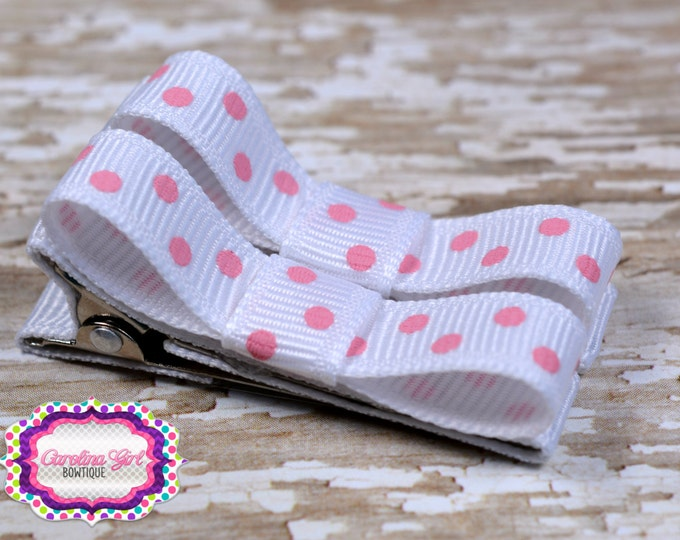 White with Pink Dots Hair Clips Basic Tuxedo Clips Alligator Non Slip Barrettes for Babies Toddler Girl Set of 2