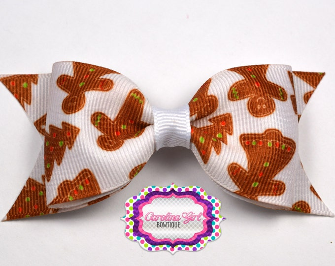"Christmas Gingerbread Tuxedo Bow ~ 3.5"" Hairbow ~ Small Hair Bow ~ Girls Barrette ~ Toddler Bow ~ Baby Hair Bow ~ Hair Clip ~ Girls Hair Bow"