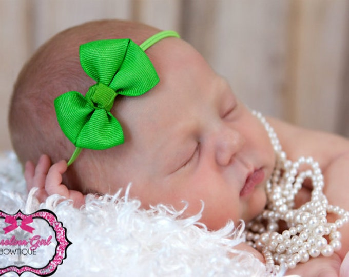 Apple Green Newborn Headband - 2 in. Bitty Bow on an Elastic Headband - Girls Hair Bows - Baby Headband