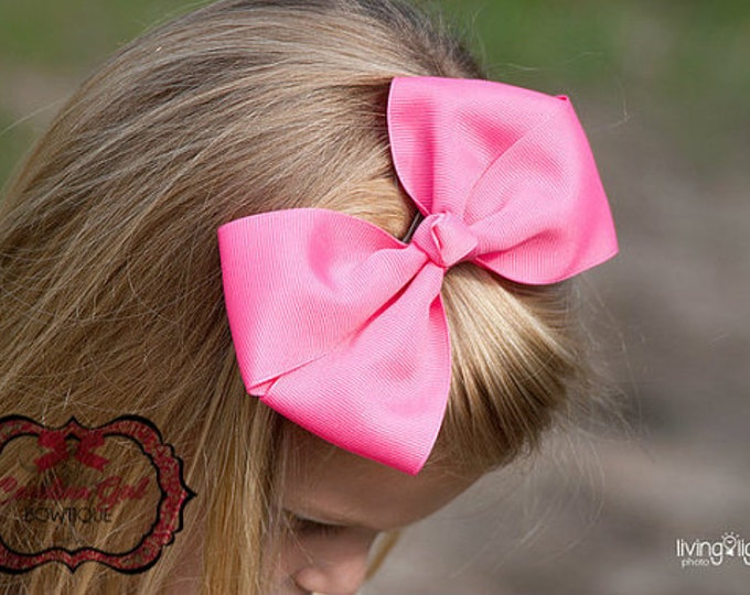 6 in. Hot Pink Hair Bow - XL Hair Bow - Big Hair Bows - Girl Hair Bows