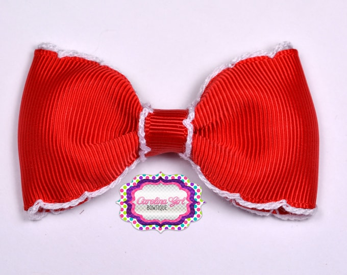 """Red w/ White Stitching 3"""" Hair Bow Tuxedo Bow Simple Bow Boutique Bow for Babies Toddlers Girls Hair Bows"""