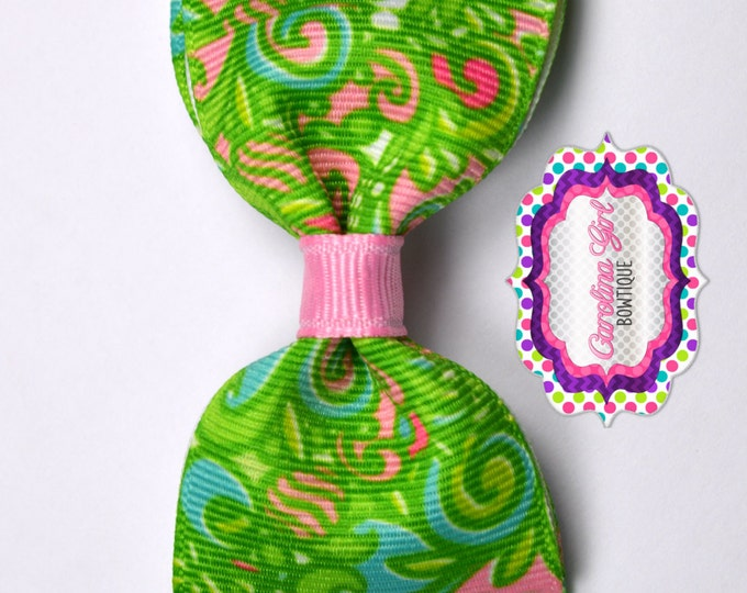 "Summer Safari ~ 3.5"" Bow ~ Lilly Inspired ~ No Slip  ~ Girls Barrette ~ Toddler Bow ~ Baby Hair Bow ~ Hair Clip ~ Girls Hair Bow"