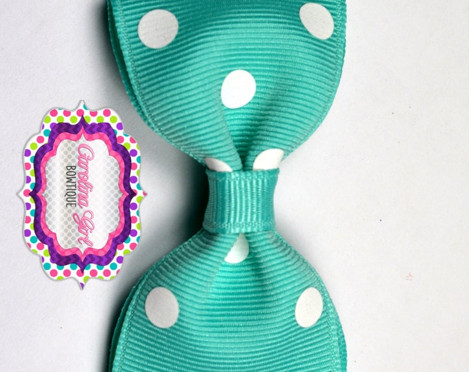 "Aqua Dots Tuxedo Bow ~ 3.5"" Hairbow ~ Small Hair Bow ~ Girls Barrette ~ Toddler Bow ~ Baby Hair Bow ~ Hair Clip ~ Girls Hair Bow"