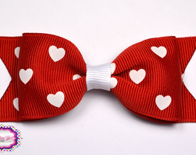 """Red with White Hearts Bow  ~ 3.5"""" Bow ~ No Slip ~ Small HairBow ~ Girls Barrette ~ Toddler Bow ~ Baby Hair Bow ~ Hair Clip ~ Girls Hair Bow"""