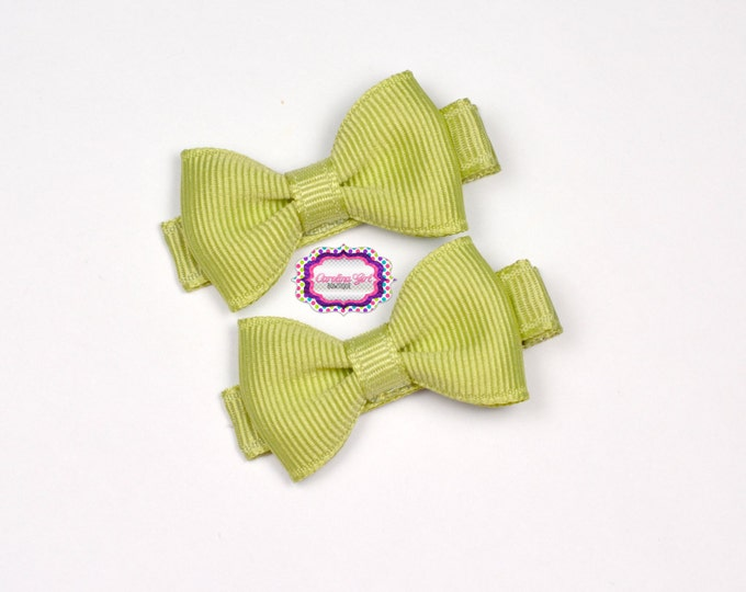 Mini Hair Bows ~ Celadon Hair Bow Set of 2 Small Hairbows - Girls Bows - Clippies - Baby Hair Bows ~ No Slip Grip always added