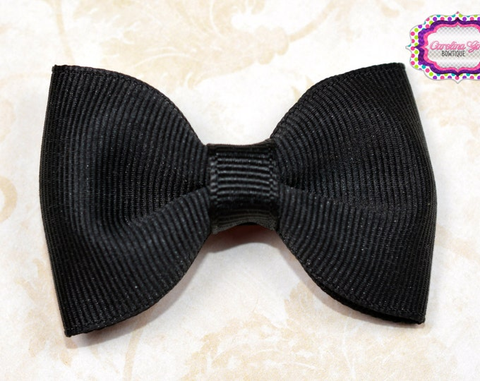 """Black 2.5"""" Hair Bow Tuxedo Bow Simple Bow Boutique Bow for Babies Toddlers Girls Hair Bows"""
