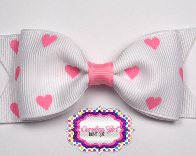 """White with Pink Hearts Bow ~ 3.5"""" Bow ~ No Slip ~ Small HairBow ~ Girls Barrette ~ Toddler Bow ~ Baby Hair Bow ~ Hair Clip ~ Girls Hair Bow"""