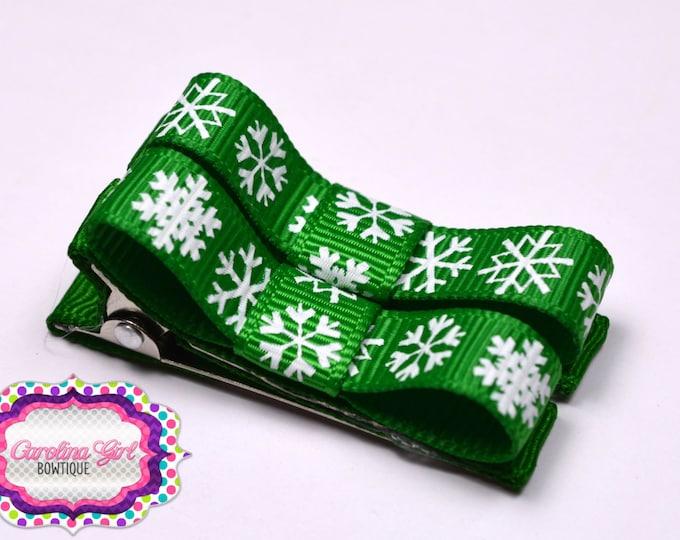 Green Snowflakes Hair Clips Basic Tuxedo Clips Alligator Non Slip Barrettes for Babies Toddler Girl Set of 2