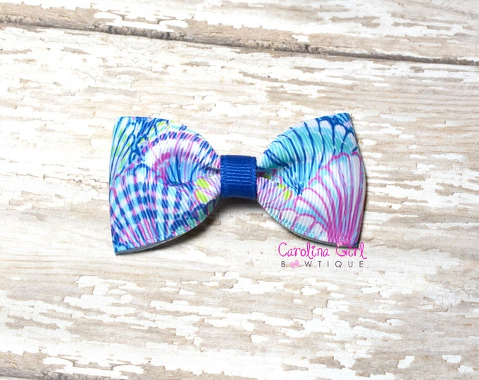 """Blue Oh Shello ~ 3"""" Hair Bow Tuxedo Bow ~ Lilly Inspired ~ Simple Bow ~ Boutique Bow for Babies Toddlers ~ Girls Hair Bows"""
