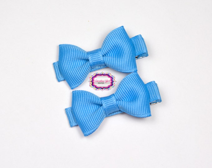 Mini Hair Bows ~ Copen Blue Hair Bow Set of 2 Small Hairbows - Girls Bows - Clippies - Baby Hair Bows ~ No Slip Grip always added