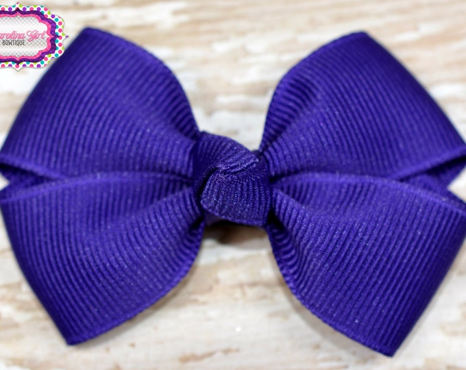 Purple Hair Bow 2.5 Inch Pinwheel Boutique Bow for Babies Toddlers Girls Hair Bows