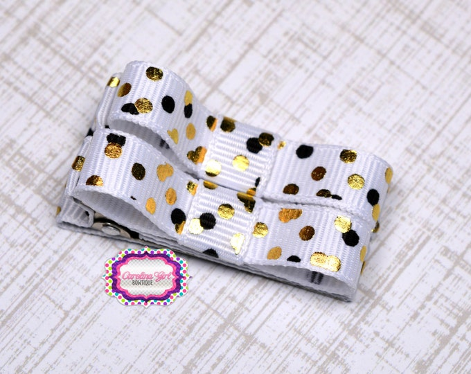 White with Black and Gold Dots Hair Clips Basic Tuxedo Clips Alligator Non Slip Barrettes for Babies Toddler Girl Set of 2