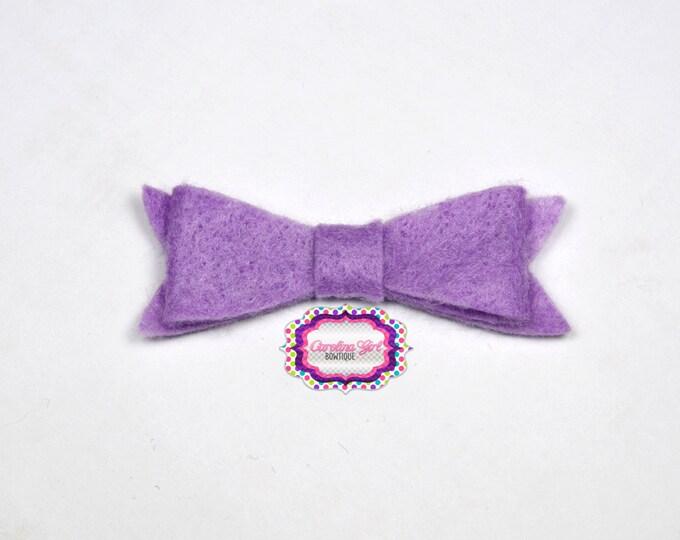 "Light Orchid Felt Tuxedo Bow  ~2"" Hairbow ~Small Bow ~Girls Barrette ~Toddler Bow ~ Baby Hair Bow ~ Hair Clip ~ Girls Hair Bow"