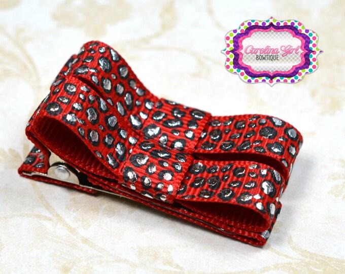 Red Leopard Hair Clips Basic Tuxedo Clips Alligator Non Slip Barrettes for Babies Toddler Girl Set of 2
