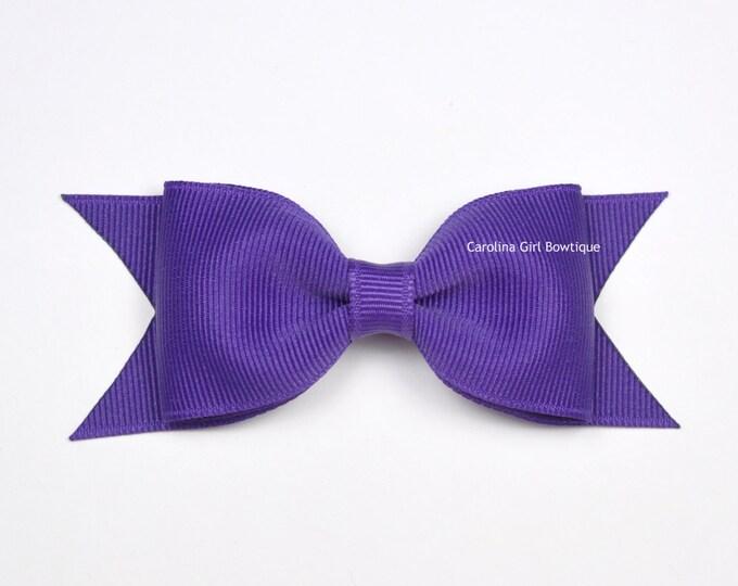 """Sugar Plum Tuxedo Bow ~ 3.5"""" Hairbow ~ Small Hair Bow ~ Girls Barrette ~ Toddler Bow ~ Baby Hair Bow ~ Hair Clip ~ Girls Hair Bow"""