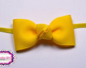 Yellow Newborn Headband - Small Headband Yellow Tiny Bow on Skinny Elastic - Girls Hair Bows