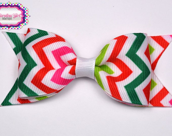 "Christmas Pink Chevron Tuxedo Bow ~ 3.5"" Hairbow ~ Small Hair Bow~ Girls Barrette ~ Toddler Bow ~ Baby Hair Bow ~ Hair Clip ~ Girls Hair Bow"