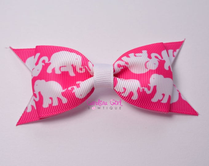 """Tusk in Sun Pop Pink  ~ 3.5"""" Hairbow ~ Lilly Inspired ~ Small Hair Bow ~ Girls Barrette ~ Toddler Bow ~ Hair Clip ~ Girls Hair Bow"""