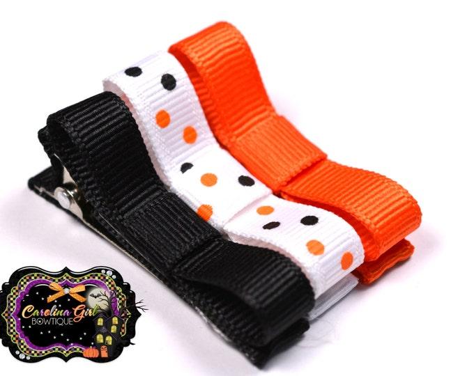 Halloween Set of 3 Hair Clips Basic Tuxedo Clips Alligator Non Slip Barrettes for Babies Toddler Girl Hair Bows
