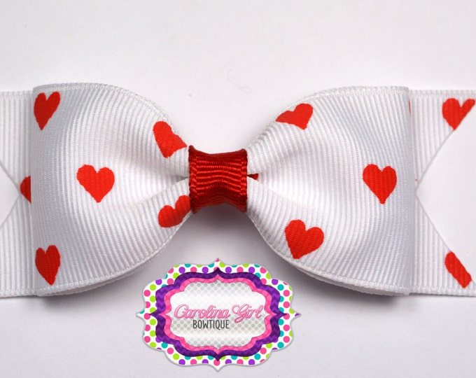"""White with Red Hearts Bow ~ 3.5"""" Bow ~ No Slip ~ Small HairBow ~ Girls Barrette ~ Toddler Bow ~ Baby Hair Bow ~ Hair Clip ~ Girls Hair Bow"""