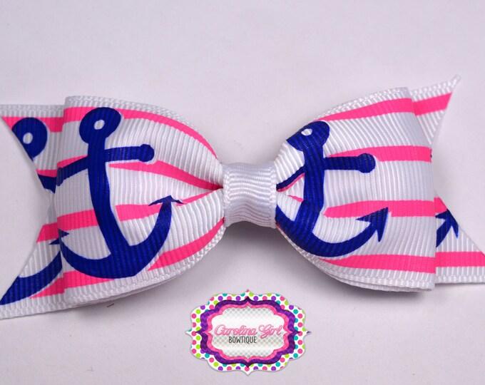 "Anchors on Stripes ~ 3.5"" Bow  ~ No Slip  ~ Girls Barrette ~ Toddler Bow ~ Baby Hair Bow ~ Hair Clip ~ Girls Hair Bow"