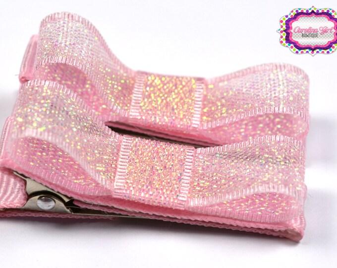 Pink Glimmer Hair Clips Basic Tuxedo Clips Alligator Non Slip Barrettes for Babies Toddler Girl Set of 2