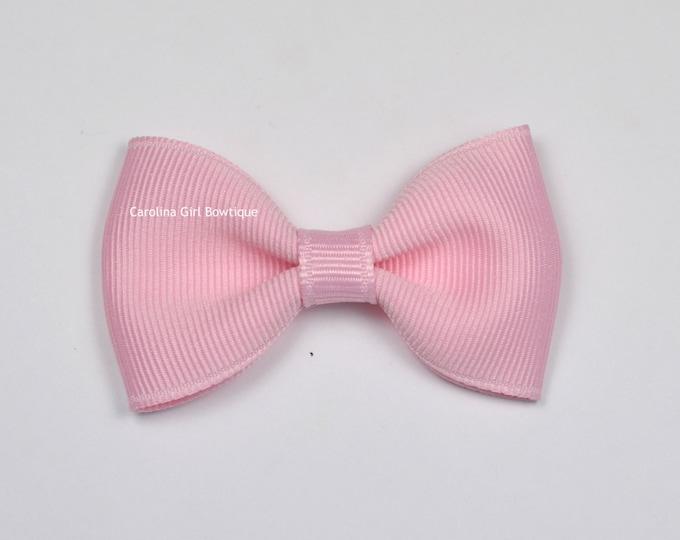 "Light Pink Tuxedo Bow  ~ 2.5"" Hairbow ~ Small Hair Bow ~ Girls Barrette ~ Toddler Bow ~ Baby Hair Bow ~ Hair Clip ~ Girls Hair Bow"