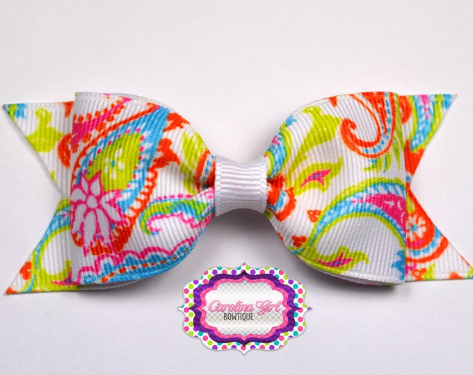 """Paisley ~ 3.5"""" Bow ~ No Slip ~ Small HairBow ~ Girls Barrette ~ Toddler Bow ~ Baby Hair Bow ~ Hair Clip ~ Girls Hair Bow"""
