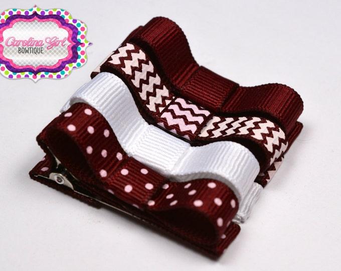 Maroon & White Hair Clips Basic Tuxedo Clips Alligator Non Slip Barrettes for Babies Toddler Girl Teens Set of 4