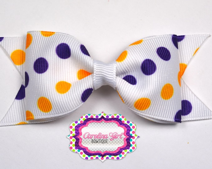 """LSU Inspired Dots Tuxedo Bow ~ 3.5"""" Hairbow ~ Small Hair Bow ~ Girls Barrette ~ Toddler Bow ~ Baby Hair Bow ~ Hair Clip ~ Girls Hair Bow"""