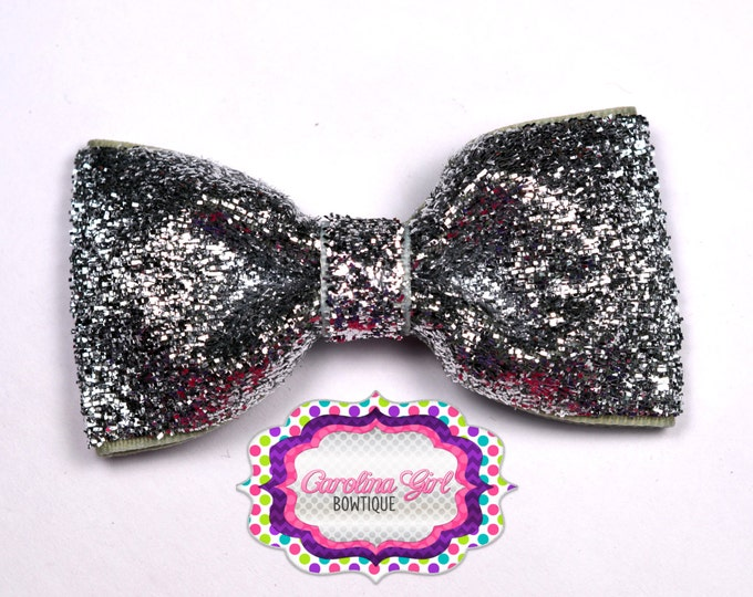 """Silver Glitter ~ 3"""" Hair Bow Tuxedo Bow ~ Simple Bow ~ Boutique Bow for Babies Toddlers ~ Girls Hair Bows"""