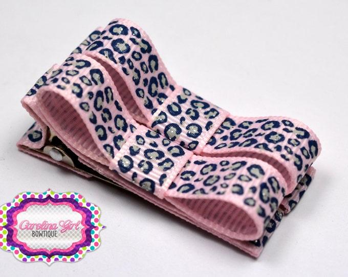 Pink & Navy Leopard Hair Clips Basic Tuxedo Clips Alligator Non Slip Barrettes for Babies Toddler Girl Set of 2