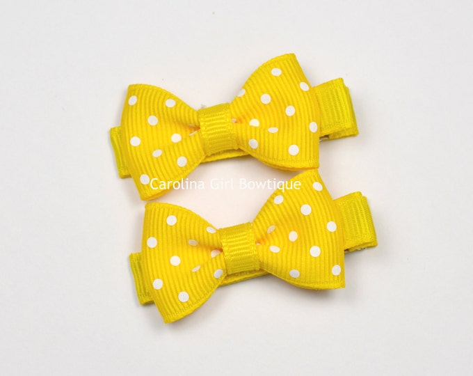 Mini Hair Bows ~ Yellow Dots Hair Bow Set of 2 Small Hairbows - Girls Hair Bows - Clippies - Baby Hair Bows ~ No Slip Grip always added