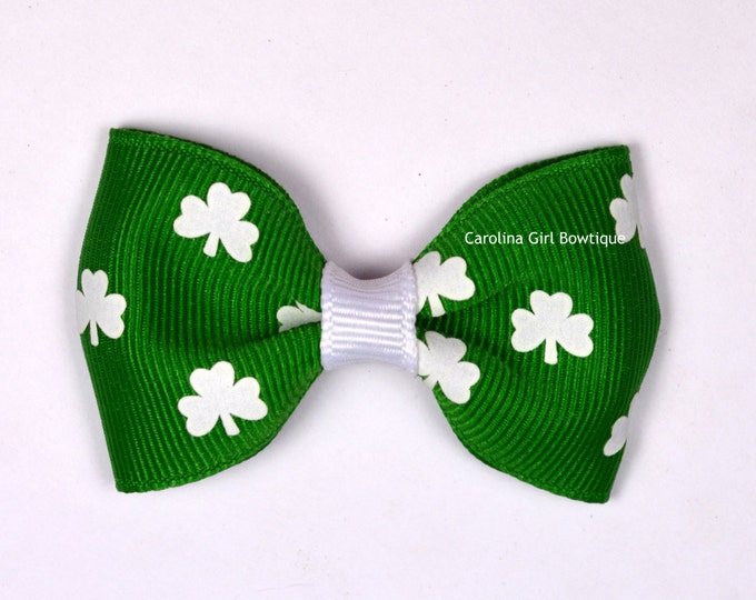 """St Patricks Day   2.5"""" Hair Bow Tuxedo Bow Simple Bow Boutique Bow for Babies Toddlers Girls Hair Bows"""