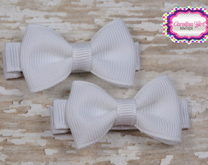 White Hair Bow Set of 2 Small Hairbows - Girls Hair Bows - Clippies - Baby Hair Bows