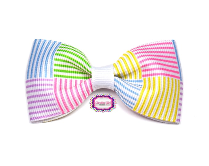 """Seersucker Inspired ~ 3"""" Hair Bow Tuxedo Bow ~ Lilly Inspired ~ Simple Bow ~ Boutique Bow for Babies Toddlers ~ Girls Hair Bows"""