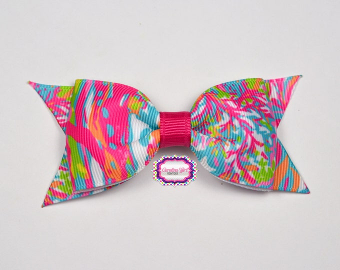 """Scuba to Cuba Bow ~ 3.5"""" Hairbow ~ Lilly Inspired ~ Small Hair Bow ~ Girls Barrette ~ Toddler Bow ~ Hair Clip ~ Girls Hair Bow"""