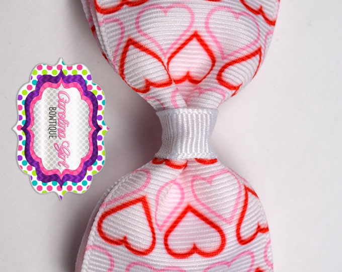 """Valentine Hearts Bow ~ 3.5"""" Bow ~ No Slip ~ Small HairBow ~ Girls Barrette ~ Toddler Bow ~ Baby Hair Bow ~ Hair Clip ~ Girls Hair Bow"""