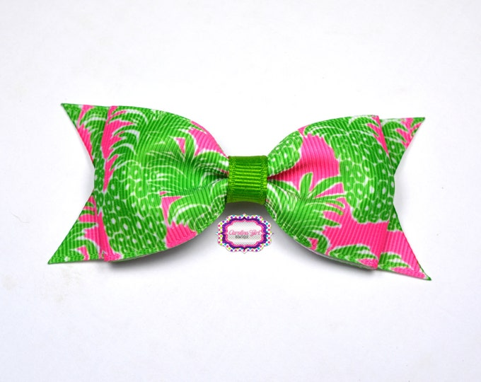 """Pink Pout Flamenco ~ 3.5"""" Hairbow ~ Lilly Inspired ~ Small Hair Bow ~ Girls Barrette ~ Toddler Bow ~ Hair Clip ~ Girls Hair Bow"""