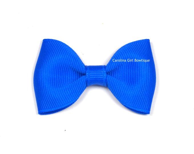 "Electric Blue Tuxedo Bow  ~ 2.5"" Hairbow ~ Small Hair Bow ~ Girls Barrette ~ Toddler Bow ~ Baby Hair Bow ~ Hair Clip ~ Girls Hair Bow"