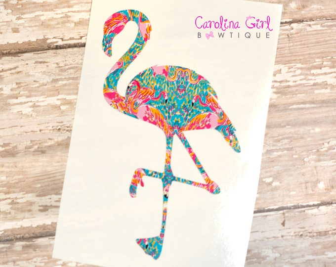 Lilly Pulitzer Inspired Flamingo Decal ~ Yeti Decal ~ Lilly Car Decal ~ Lilly Decal ~ Lilly Sticker