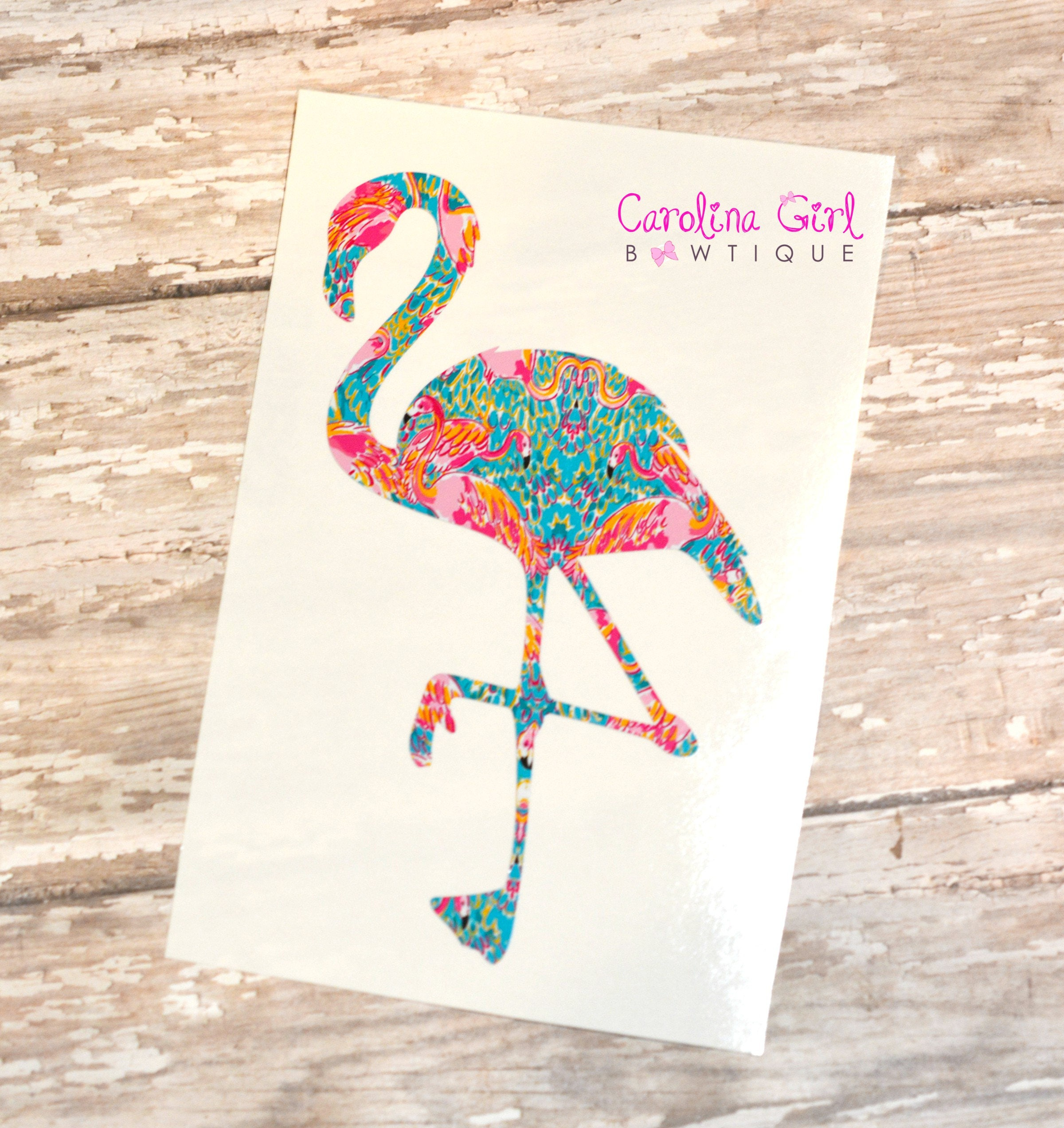 98b092ecfe5 Lilly Pulitzer Inspired Flamingo Decal ~ Yeti Decal ~ Lilly Car Decal ~  Lilly Decal ~ Lilly Sticker. 1
