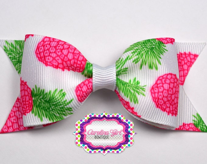 """Pineapples ~ 3.5"""" Bow ~ Lilly Inspired ~ No Slip  ~ Girls Barrette ~ Toddler Bow ~ Baby Hair Bow ~ Hair Clip ~ Girls Hair Bow"""