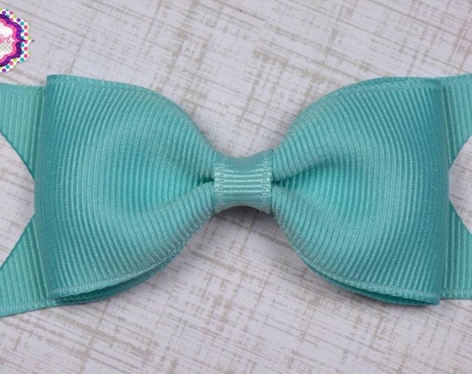 "Aqua Tuxedo Bow  ~ 3.5"" Hairbow ~ Small Hair Bow ~ Girls Barrette ~ Toddler Bow ~ Baby Hair Bow ~ Hair Clip ~ Girls Hair Bow"